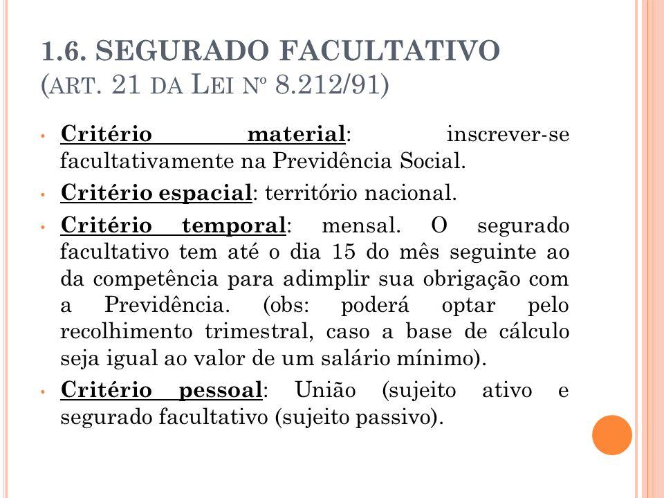 1.6. SEGURADO FACULTATIVO ( ART. 21 DA L EI Nº 8.212/91) Critério material : inscrever-se facultativamente na Previdência Social. Critério espacial :