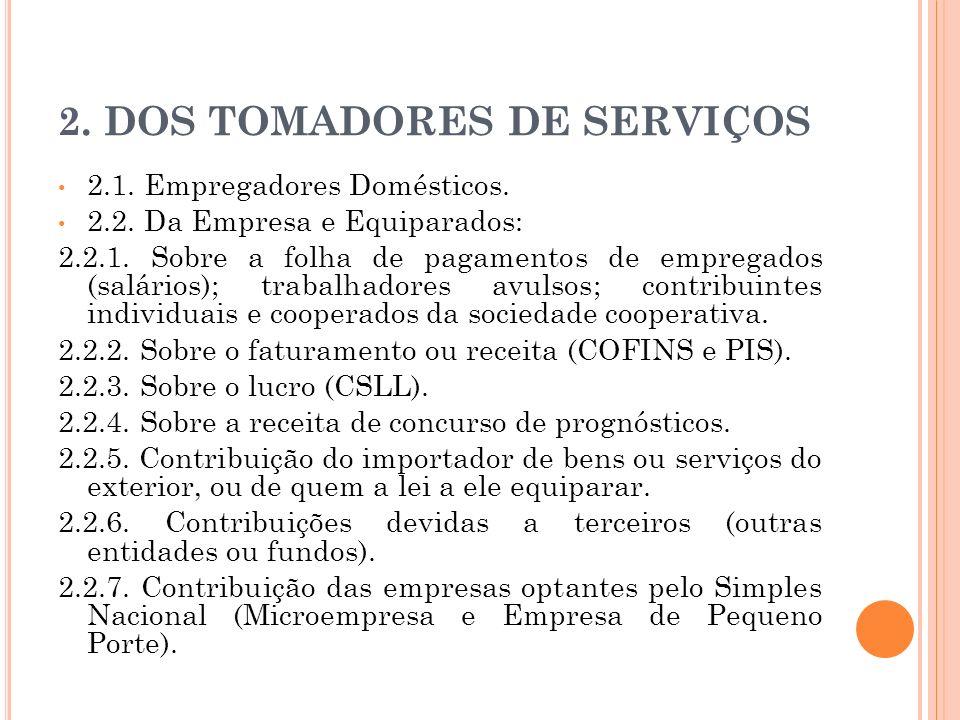 2. DOS TOMADORES DE SERVIÇOS 2.1. Empregadores Domésticos. 2.2. Da Empresa e Equiparados: 2.2.1. Sobre a folha de pagamentos de empregados (salários);