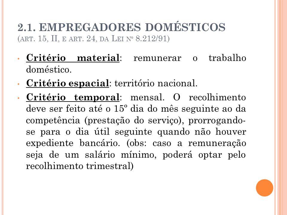 2.1. EMPREGADORES DOMÉSTICOS ( ART. 15, II, E ART. 24, DA L EI Nº 8.212/91) Critério material : remunerar o trabalho doméstico. Critério espacial : te