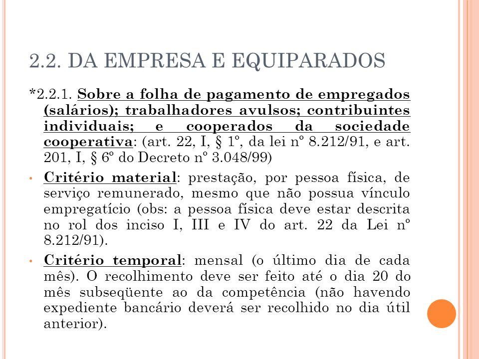 2.2. DA EMPRESA E EQUIPARADOS *2.2.1. Sobre a folha de pagamento de empregados (salários); trabalhadores avulsos; contribuintes individuais; e coopera