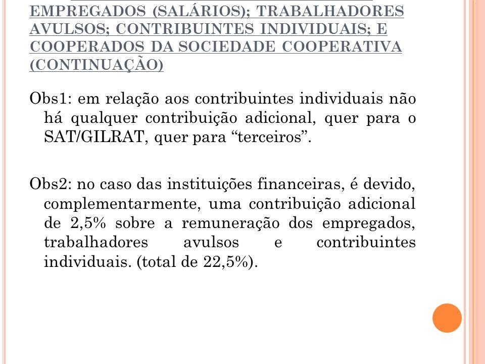 2.2.1. SOBRE A FOLHA DE PAGAMENTO DE EMPREGADOS (SALÁRIOS); TRABALHADORES AVULSOS; CONTRIBUINTES INDIVIDUAIS; E COOPERADOS DA SOCIEDADE COOPERATIVA (C