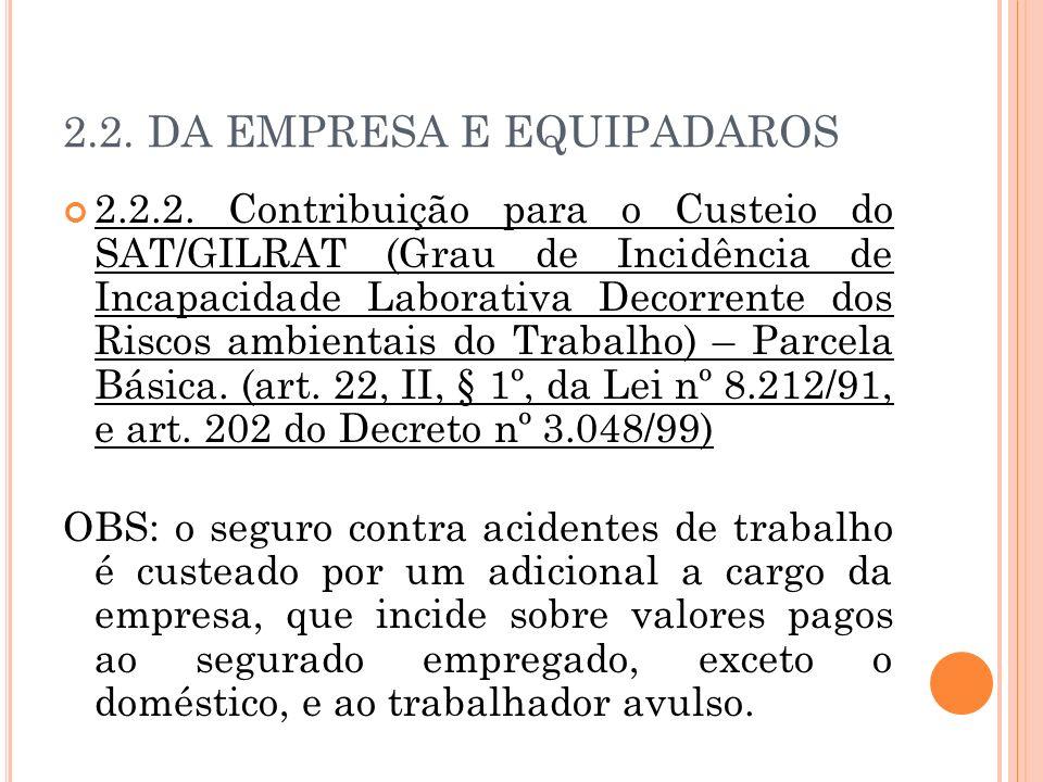 2.2. DA EMPRESA E EQUIPADAROS 2.2.2. Contribuição para o Custeio do SAT/GILRAT (Grau de Incidência de Incapacidade Laborativa Decorrente dos Riscos am