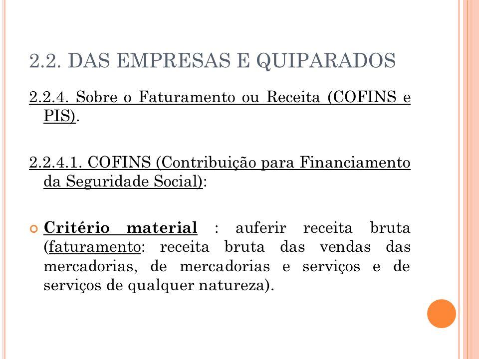 2.2. DAS EMPRESAS E QUIPARADOS 2.2.4. Sobre o Faturamento ou Receita (COFINS e PIS). 2.2.4.1. COFINS (Contribuição para Financiamento da Seguridade So