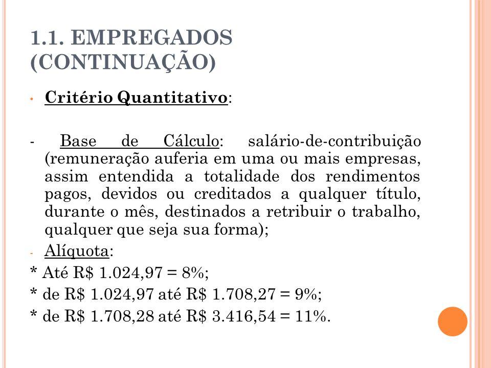 1.1. EMPREGADOS (CONTINUAÇÃO) Critério Quantitativo : - Base de Cálculo: salário-de-contribuição (remuneração auferia em uma ou mais empresas, assim e
