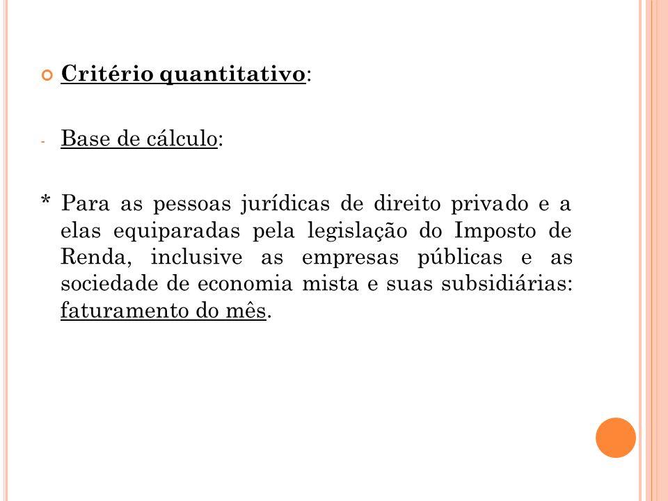 Critério quantitativo : - Base de cálculo: * Para as pessoas jurídicas de direito privado e a elas equiparadas pela legislação do Imposto de Renda, in