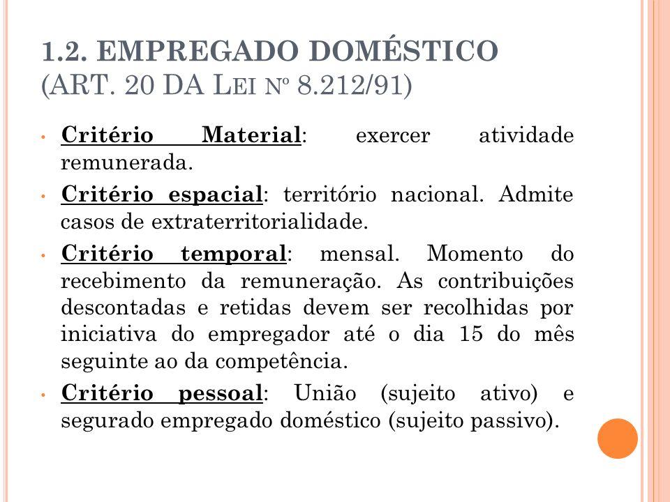 1.2. EMPREGADO DOMÉSTICO (ART. 20 DA L EI Nº 8.212/91) Critério Material : exercer atividade remunerada. Critério espacial : território nacional. Admi