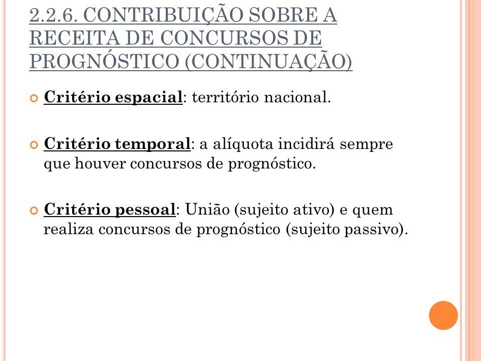 2.2.6. CONTRIBUIÇÃO SOBRE A RECEITA DE CONCURSOS DE PROGNÓSTICO (CONTINUAÇÃO) Critério espacial : território nacional. Critério temporal : a alíquota
