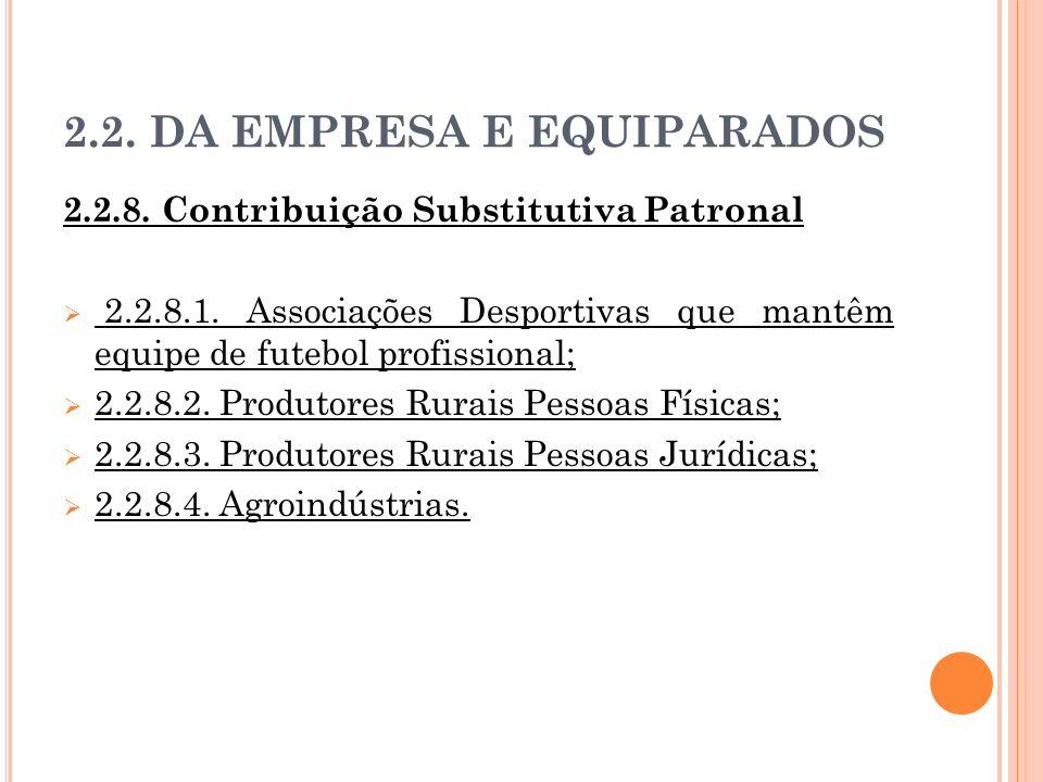2.2. DA EMPRESA E EQUIPARADOS 2.2.8. Contribuição Substitutiva Patronal 2.2.8.1. Associações Desportivas que mantêm equipe de futebol profissional; 2.