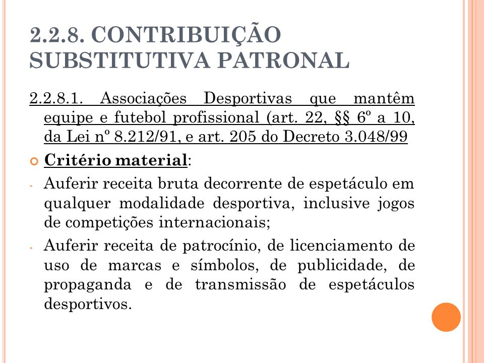 2.2.8. CONTRIBUIÇÃO SUBSTITUTIVA PATRONAL 2.2.8.1. Associações Desportivas que mantêm equipe e futebol profissional (art. 22, §§ 6º a 10, da Lei nº 8.