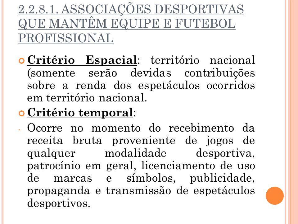 2.2.8.1. ASSOCIAÇÕES DESPORTIVAS QUE MANTÊM EQUIPE E FUTEBOL PROFISSIONAL Critério Espacial : território nacional (somente serão devidas contribuições