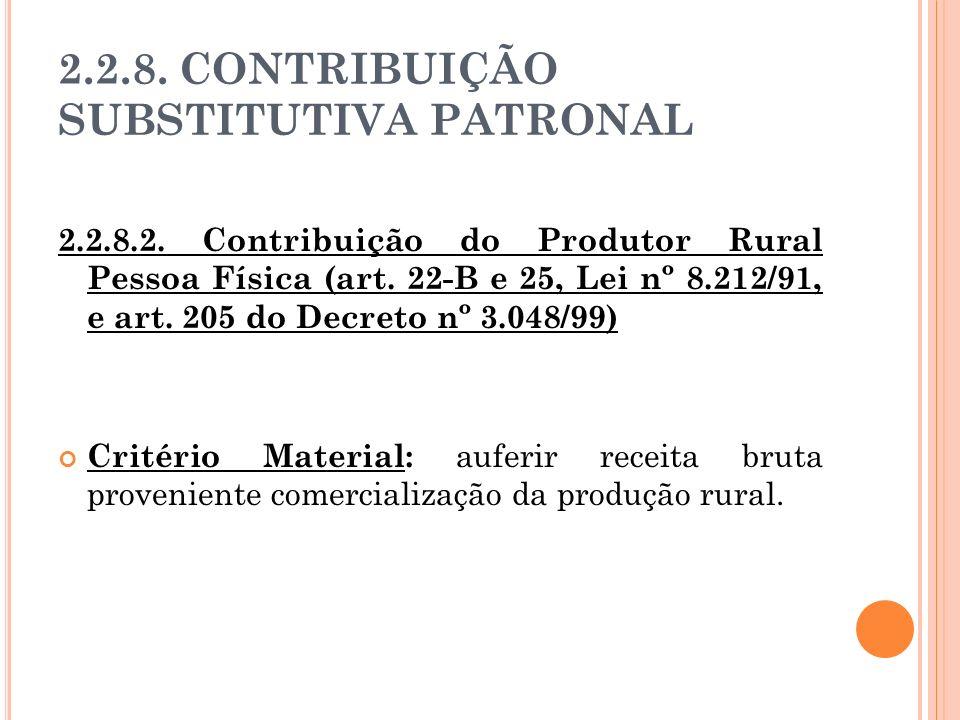 2.2.8. CONTRIBUIÇÃO SUBSTITUTIVA PATRONAL 2.2.8.2. Contribuição do Produtor Rural Pessoa Física (art. 22-B e 25, Lei nº 8.212/91, e art. 205 do Decret