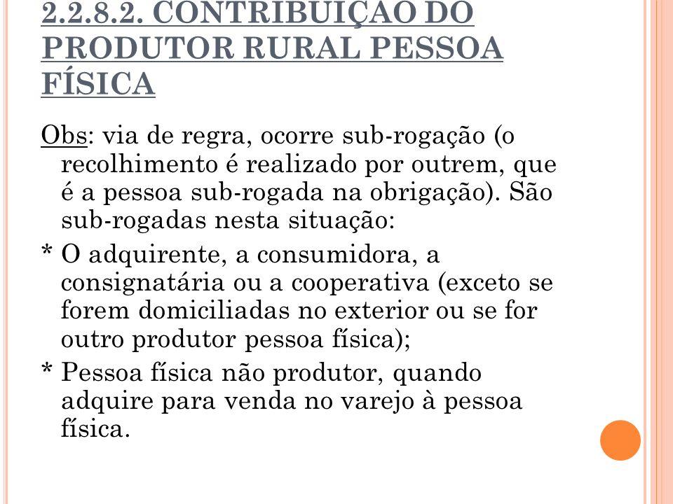 2.2.8.2. CONTRIBUIÇÃO DO PRODUTOR RURAL PESSOA FÍSICA Obs: via de regra, ocorre sub-rogação (o recolhimento é realizado por outrem, que é a pessoa sub