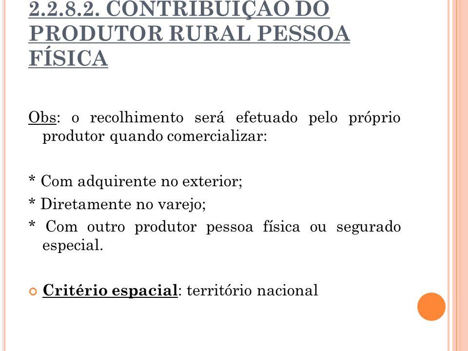 2.2.8.2. CONTRIBUIÇÃO DO PRODUTOR RURAL PESSOA FÍSICA Obs: o recolhimento será efetuado pelo próprio produtor quando comercializar: * Com adquirente n