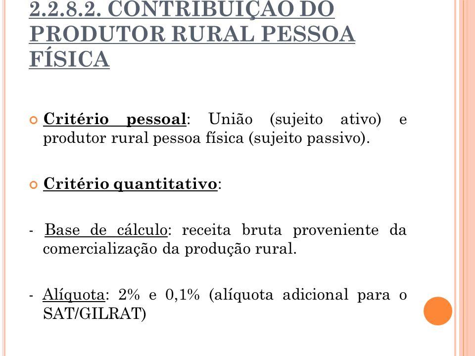 2.2.8.2. CONTRIBUIÇÃO DO PRODUTOR RURAL PESSOA FÍSICA Critério pessoal : União (sujeito ativo) e produtor rural pessoa física (sujeito passivo). Crité