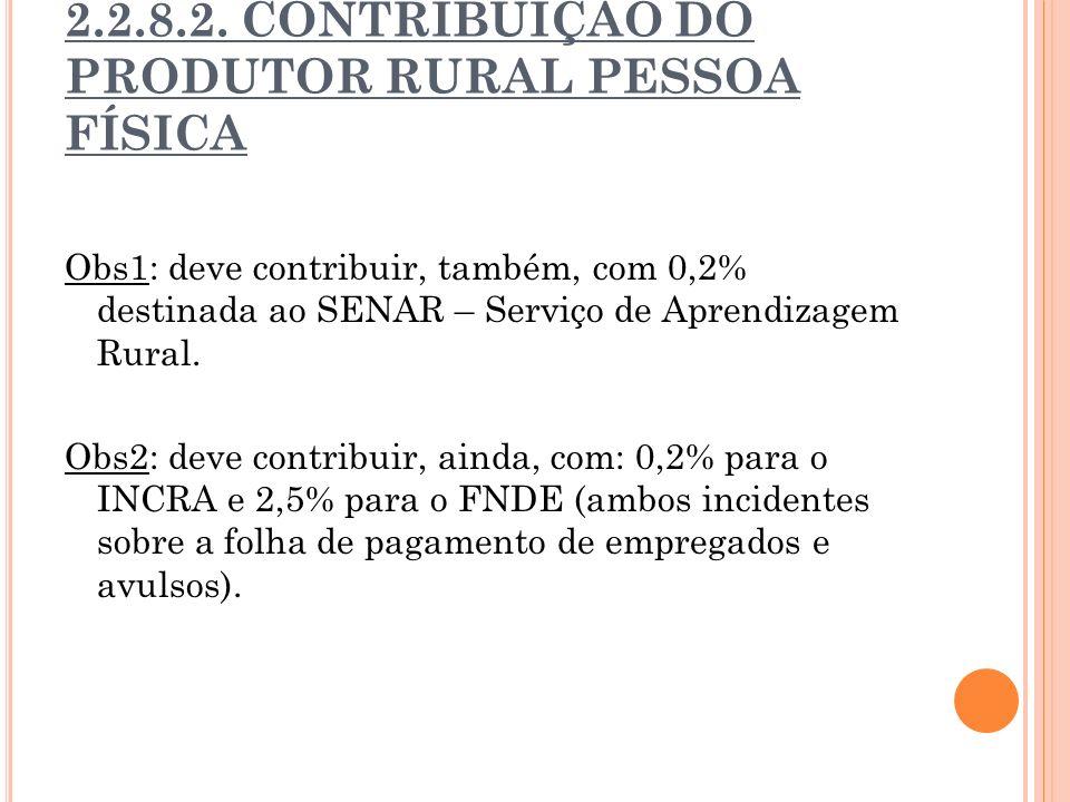 2.2.8.2. CONTRIBUIÇÃO DO PRODUTOR RURAL PESSOA FÍSICA Obs1: deve contribuir, também, com 0,2% destinada ao SENAR – Serviço de Aprendizagem Rural. Obs2