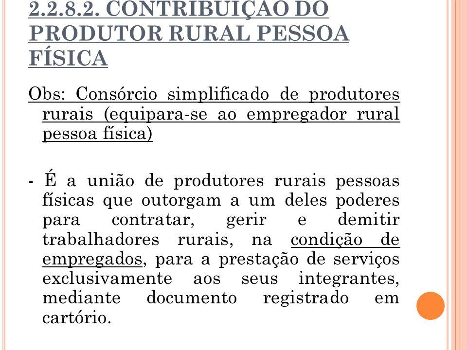 2.2.8.2. CONTRIBUIÇÃO DO PRODUTOR RURAL PESSOA FÍSICA Obs: Consórcio simplificado de produtores rurais (equipara-se ao empregador rural pessoa física)