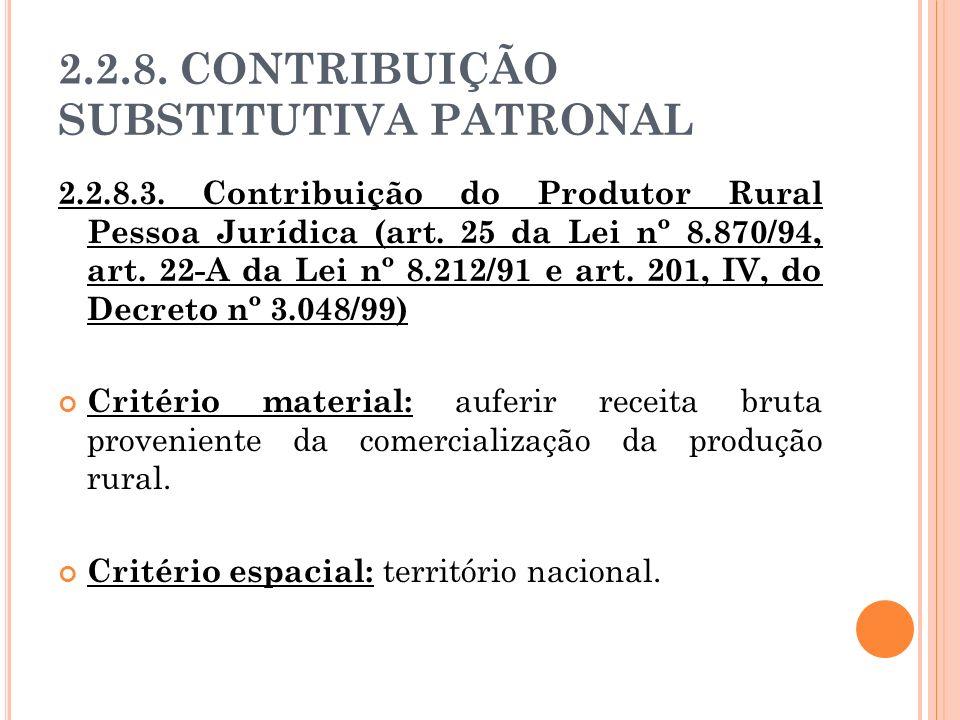 2.2.8. CONTRIBUIÇÃO SUBSTITUTIVA PATRONAL 2.2.8.3. Contribuição do Produtor Rural Pessoa Jurídica (art. 25 da Lei nº 8.870/94, art. 22-A da Lei nº 8.2