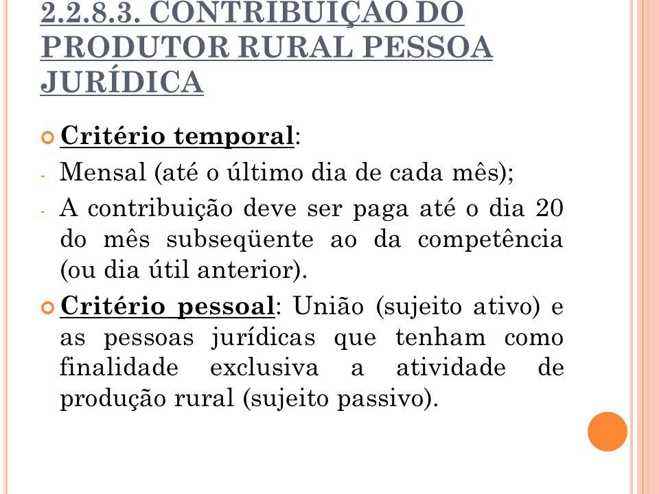2.2.8.3. CONTRIBUIÇÃO DO PRODUTOR RURAL PESSOA JURÍDICA Critério temporal : - Mensal (até o último dia de cada mês); - A contribuição deve ser paga at