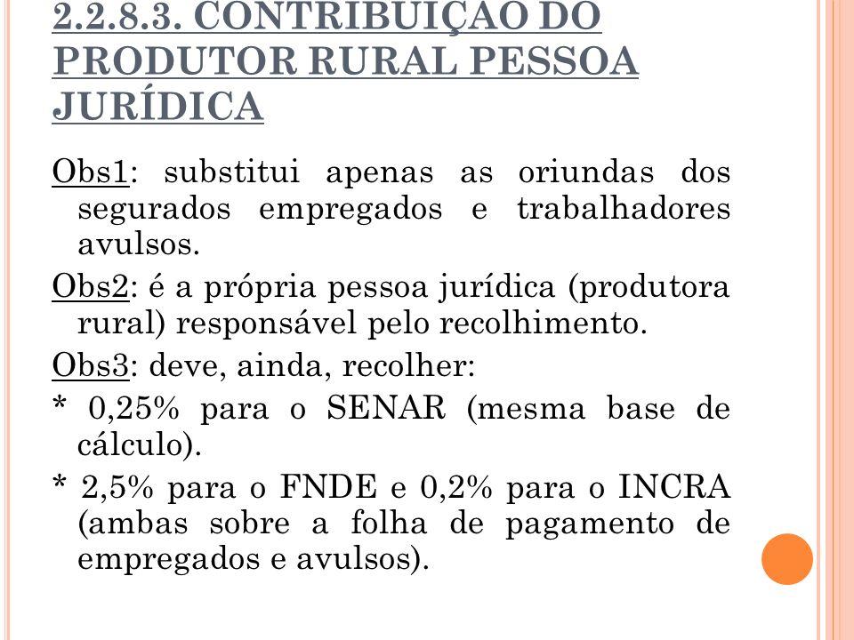 2.2.8.3. CONTRIBUIÇÃO DO PRODUTOR RURAL PESSOA JURÍDICA Obs1: substitui apenas as oriundas dos segurados empregados e trabalhadores avulsos. Obs2: é a