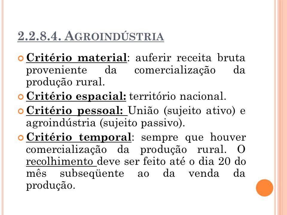 2.2.8.4. A GROINDÚSTRIA Critério material : auferir receita bruta proveniente da comercialização da produção rural. Critério espacial: território naci