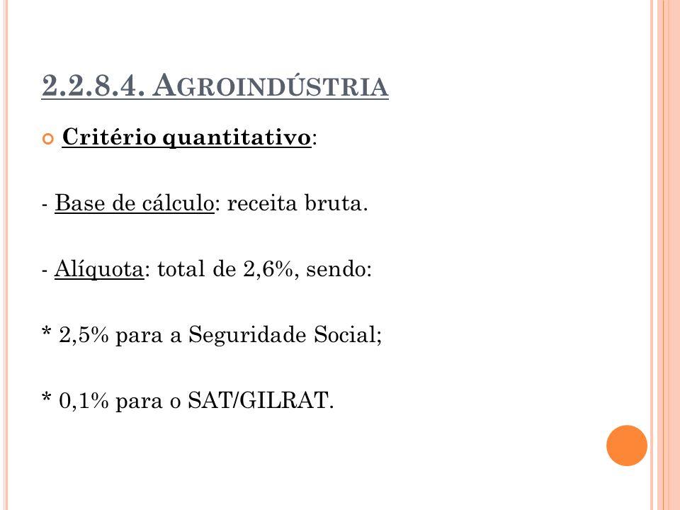 2.2.8.4. A GROINDÚSTRIA Critério quantitativo : - Base de cálculo: receita bruta. - Alíquota: total de 2,6%, sendo: * 2,5% para a Seguridade Social; *