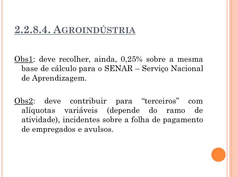 2.2.8.4. A GROINDÚSTRIA Obs1: deve recolher, ainda, 0,25% sobre a mesma base de cálculo para o SENAR – Serviço Nacional de Aprendizagem. Obs2: deve co