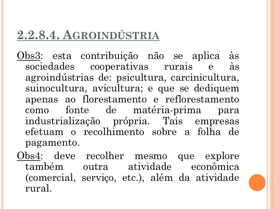 2.2.8.4. A GROINDÚSTRIA Obs3: esta contribuição não se aplica às sociedades cooperativas rurais e às agroindústrias de: psicultura, carcinicultura, su