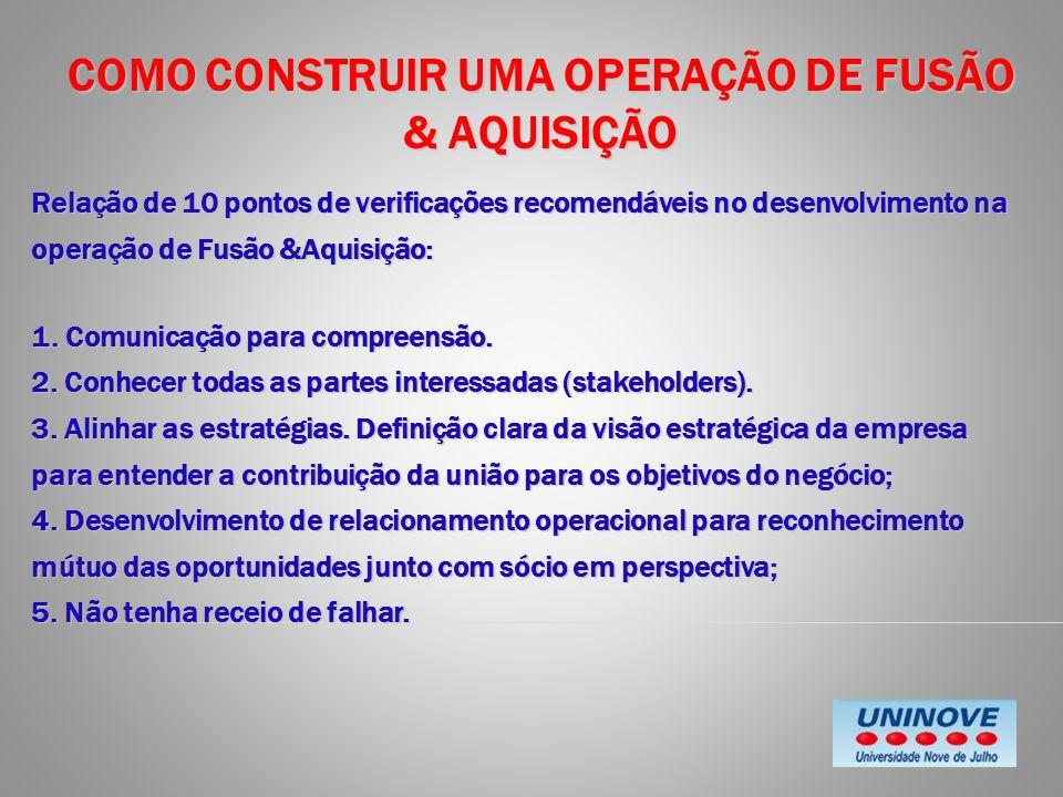 COMO CONSTRUIR UMA OPERAÇÃO DE FUSÃO & AQUISIÇÃO Relação de 10 pontos de verificações recomendáveis no desenvolvimento na operação de Fusão &Aquisição