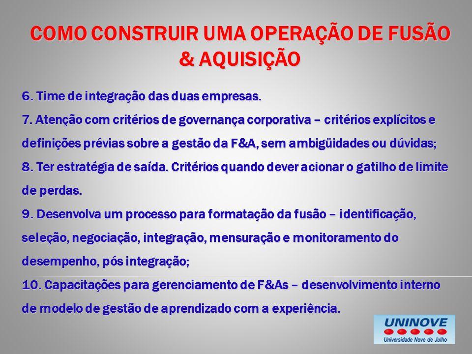 COMO CONSTRUIR UMA OPERAÇÃO DE FUSÃO & AQUISIÇÃO 6. Time de integração das duas empresas. 7. Atenção com critérios de governança corporativa – critéri