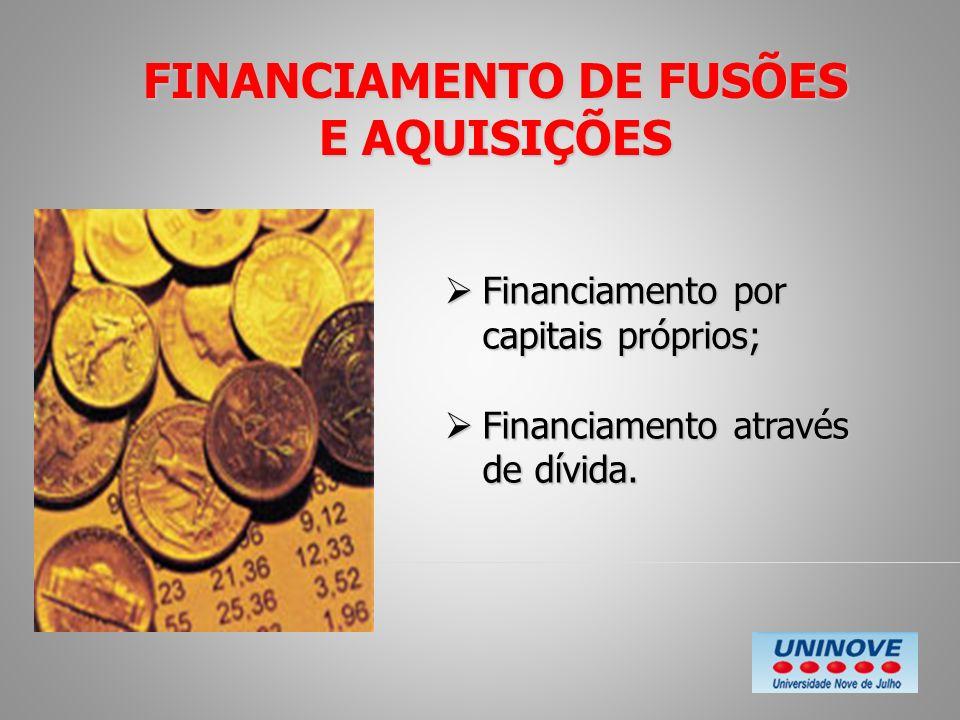 FINANCIAMENTO DE FUSÕES E AQUISIÇÕES Financiamento por capitais próprios; Financiamento por capitais próprios; Financiamento através de dívida. Financ