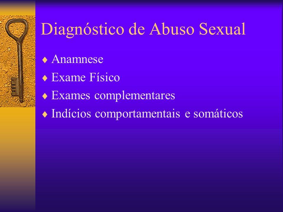 Diagnóstico de Abuso Sexual Anamnese Exame Físico Exames complementares Indícios comportamentais e somáticos