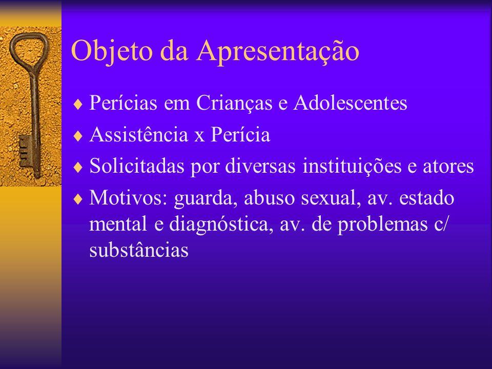Objeto da Apresentação Perícias em Crianças e Adolescentes Assistência x Perícia Solicitadas por diversas instituições e atores Motivos: guarda, abuso
