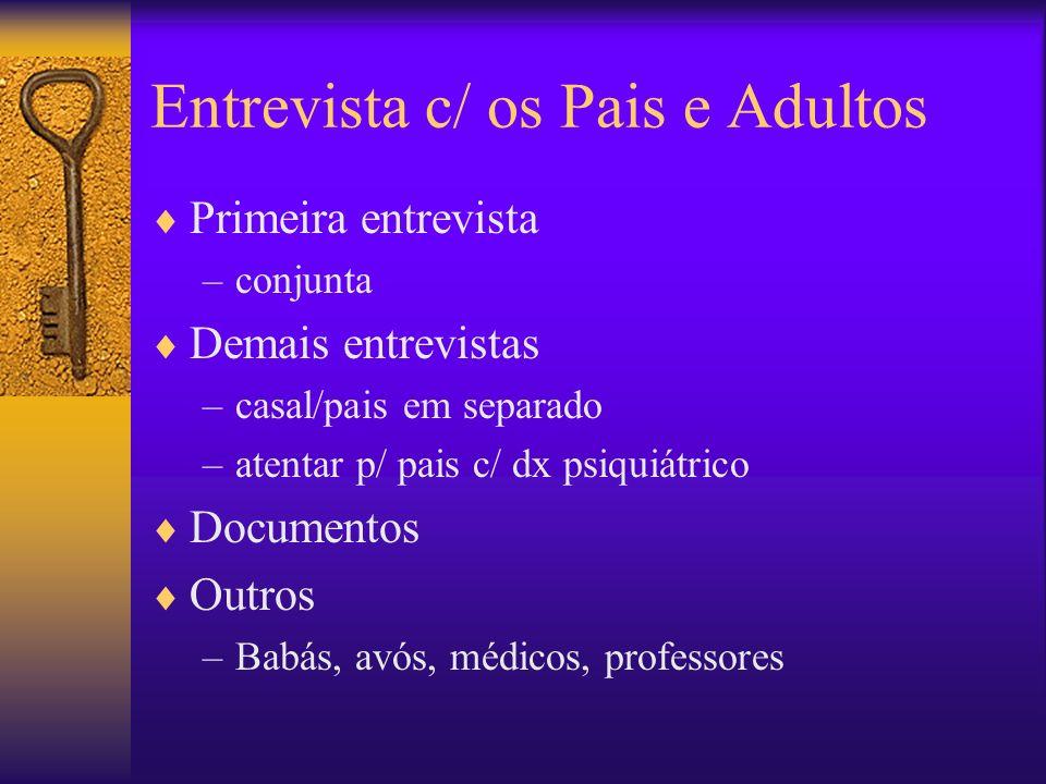 Entrevista c/ os Pais e Adultos Primeira entrevista –conjunta Demais entrevistas –casal/pais em separado –atentar p/ pais c/ dx psiquiátrico Documento