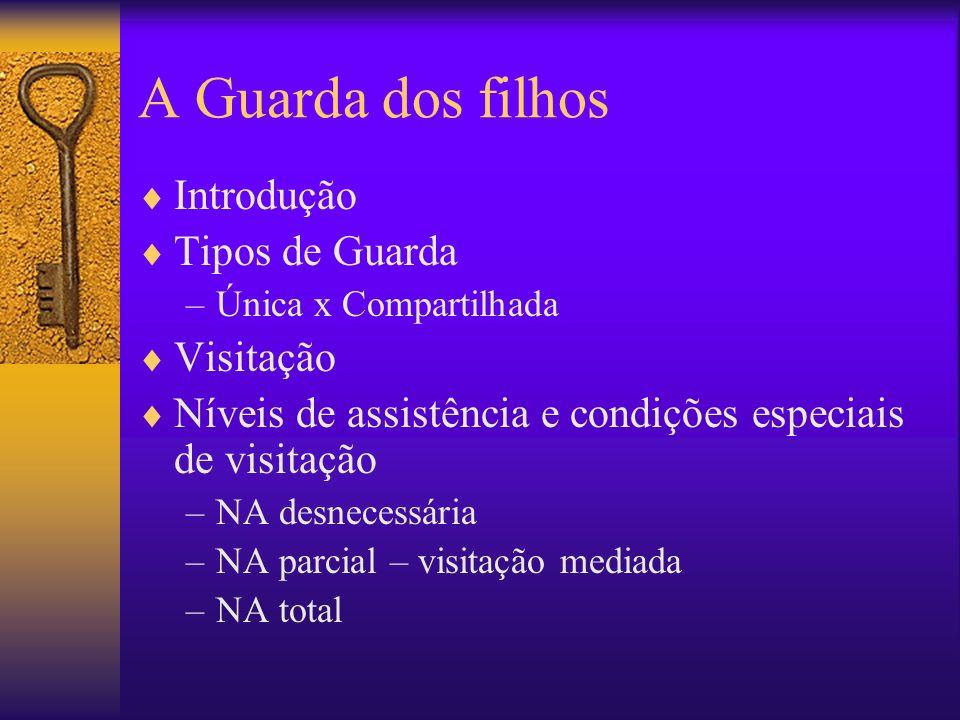 A Guarda dos filhos Introdução Tipos de Guarda –Única x Compartilhada Visitação Níveis de assistência e condições especiais de visitação –NA desnecess
