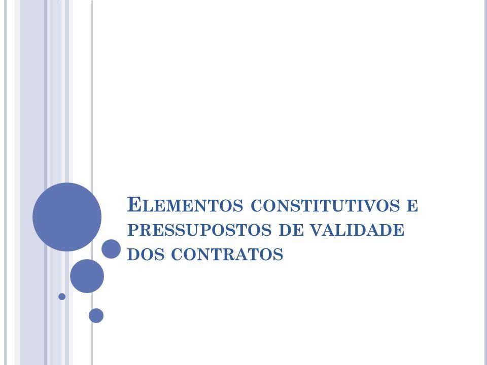 E LEMENTOS CONSTITUTIVOS E PRESSUPOSTOS DE VALIDADE DOS CONTRATOS