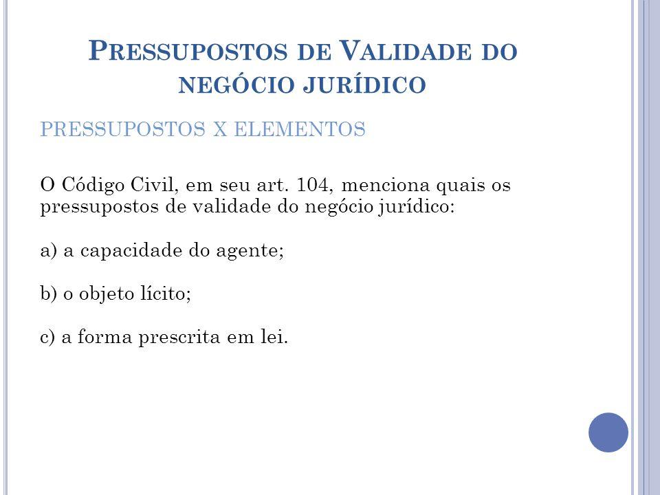 P RESSUPOSTOS DE V ALIDADE DO NEGÓCIO JURÍDICO PRESSUPOSTOS X ELEMENTOS O Código Civil, em seu art. 104, menciona quais os pressupostos de validade do