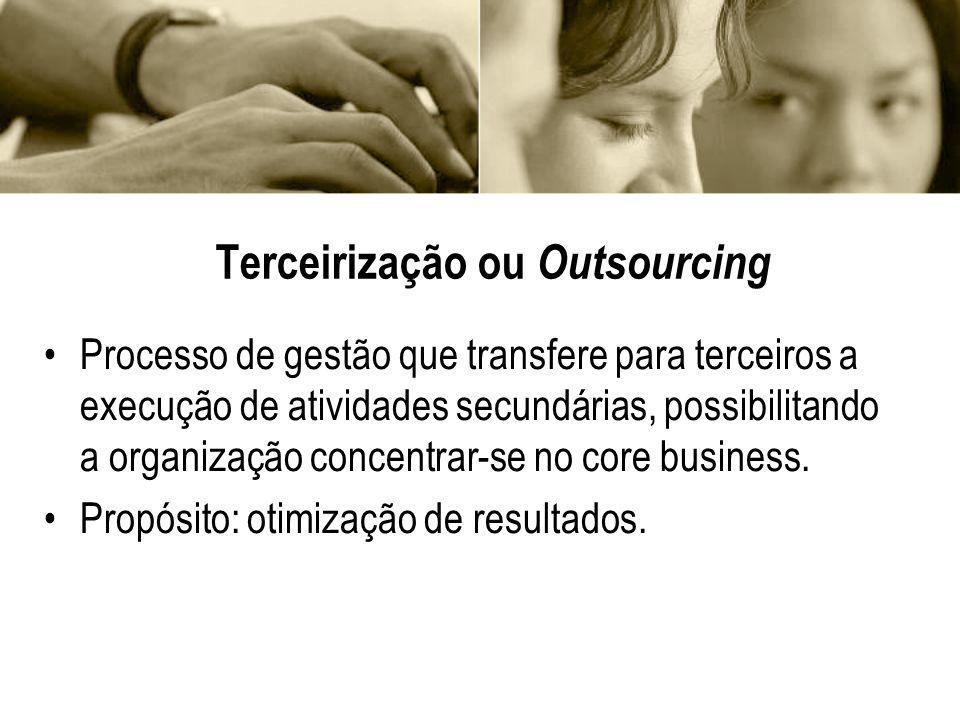 Terceirização ou Outsourcing Processo de gestão que transfere para terceiros a execução de atividades secundárias, possibilitando a organização concen