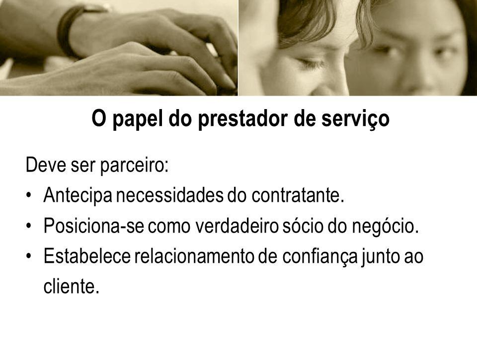 O que contratante espera de um parceiro Serviço igual ou melhor do que executa internamente.