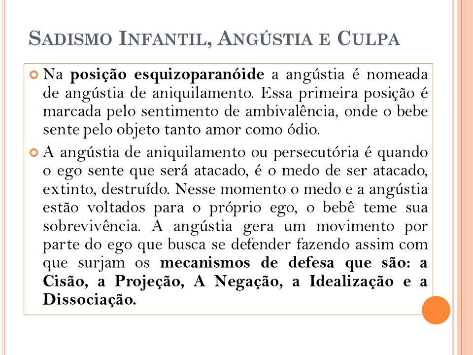 S ADISMO I NFANTIL, A NGÚSTIA E C ULPA Na posição esquizoparanóide a angústia é nomeada de angústia de aniquilamento.