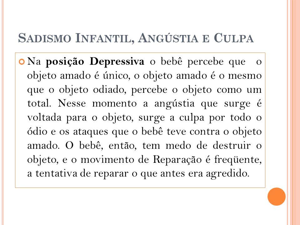 S ADISMO I NFANTIL, A NGÚSTIA E C ULPA Na posição Depressiva o bebê percebe que o objeto amado é único, o objeto amado é o mesmo que o objeto odiado, percebe o objeto como um total.