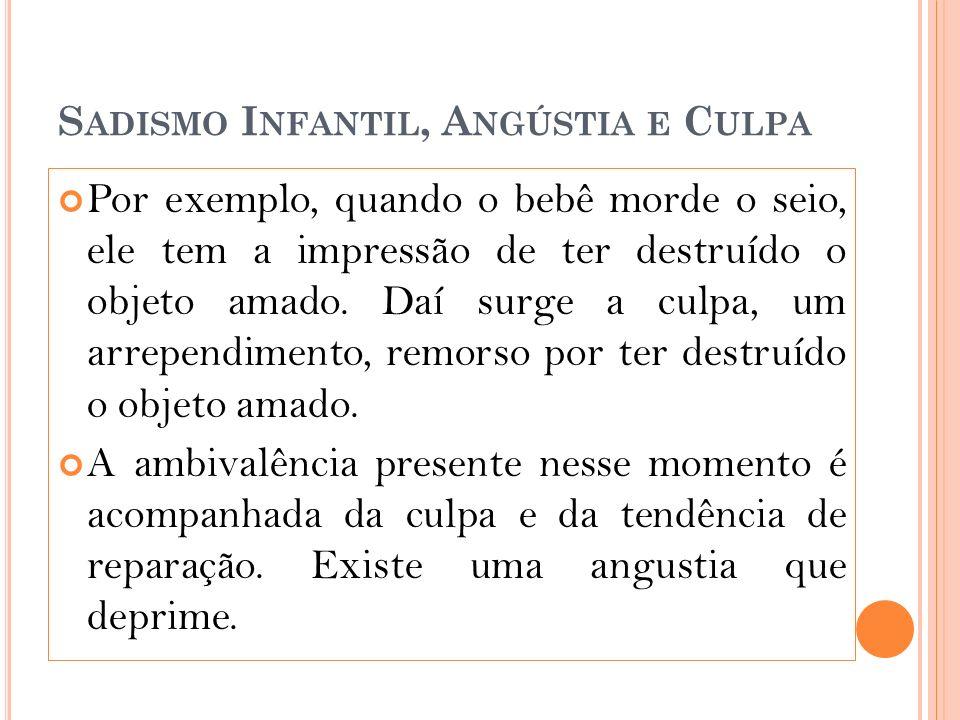 S ADISMO I NFANTIL, A NGÚSTIA E C ULPA Por exemplo, quando o bebê morde o seio, ele tem a impressão de ter destruído o objeto amado.