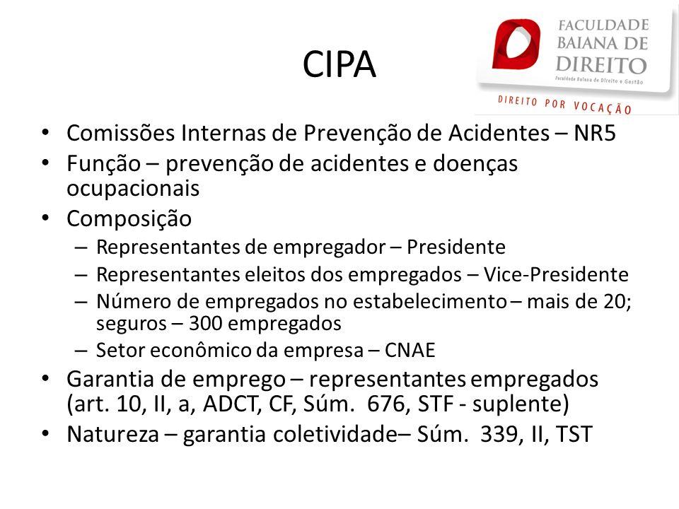 CIPA Comissões Internas de Prevenção de Acidentes – NR5 Função – prevenção de acidentes e doenças ocupacionais Composição – Representantes de empregad