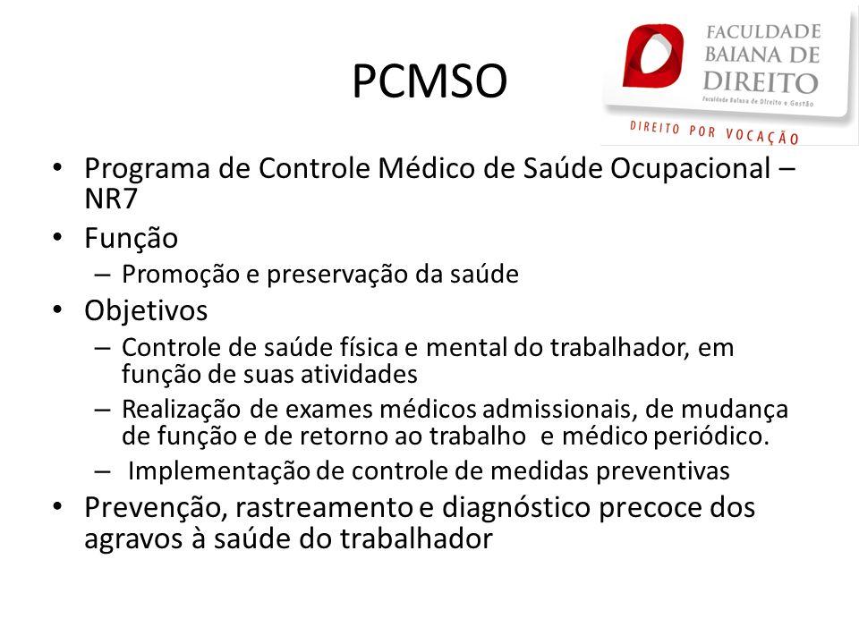 PCMSO Programa de Controle Médico de Saúde Ocupacional – NR7 Função – Promoção e preservação da saúde Objetivos – Controle de saúde física e mental do
