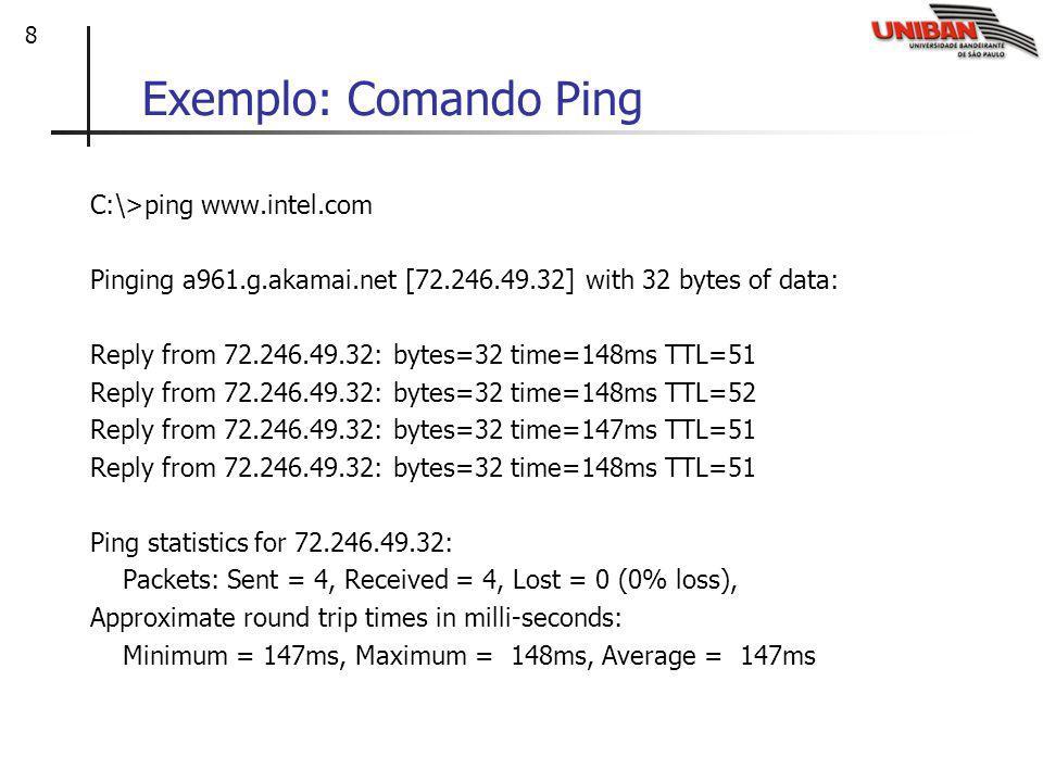 9 Comentário: Traceroute e ICMP O transmissor envia uma série de 3 segmentos UDP em direção ao destino para cada roteador envolvido no caminho entre a origem e o destino: O 1o possui TTL = 1 (responde somente o roteador vizinho da origem).