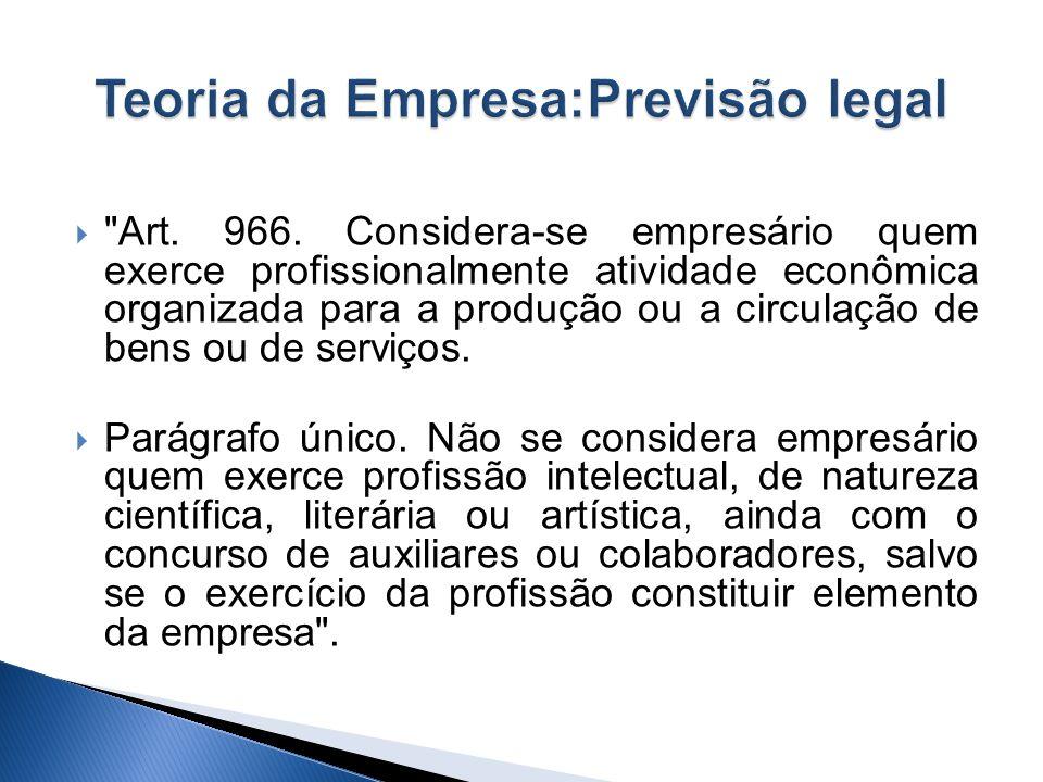 Código Civil Brasileiro, 2002, adota integralmente a Teoria da Empresa, revogando todo o disposto no Código Comercial Brasileiro de 1850.