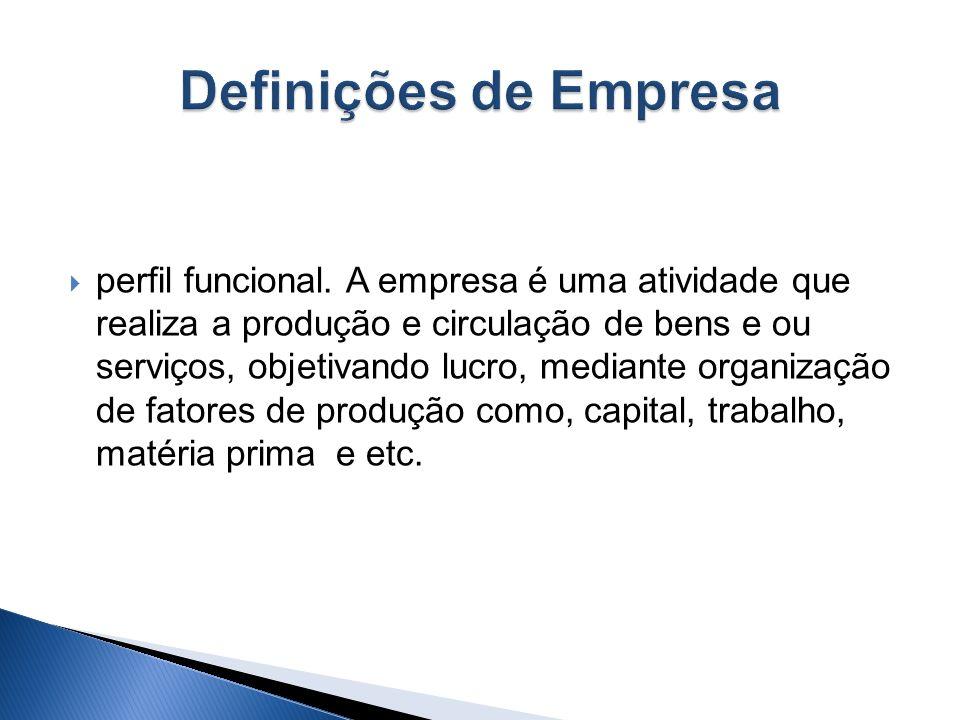 perfil objetivo (patrimonial). A empresa é um conjunto de bens. A palavra empresa é sinônima da expressão estabelecimento comercial. Os bens estão uni