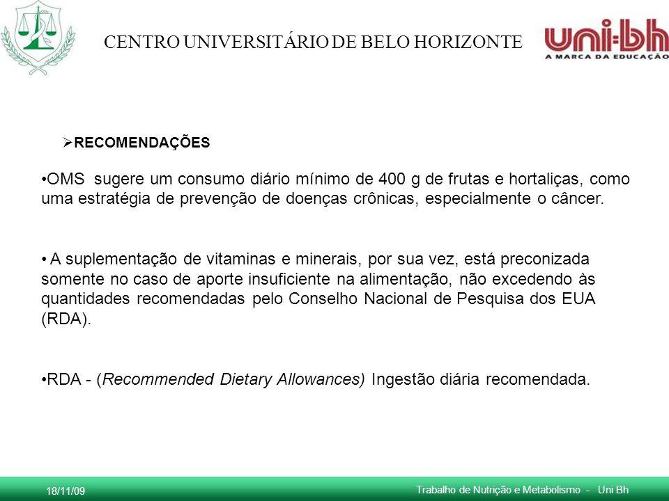 18/11/09 Trabalho de Nutrição e Metabolismo - Uni Bh CENTRO UNIVERSITÁRIO DE BELO HORIZONTE OMS sugere um consumo diário mínimo de 400 g de frutas e h