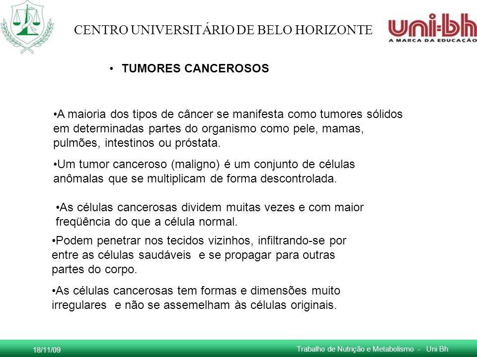 18/11/09 Trabalho de Nutrição e Metabolismo - Uni Bh CENTRO UNIVERSITÁRIO DE BELO HORIZONTE TUMORES CANCEROSOS A maioria dos tipos de câncer se manife