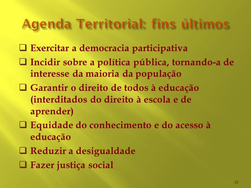Exercitar a democracia participativa Incidir sobre a política pública, tornando-a de interesse da maioria da população Garantir o direito de todos à e