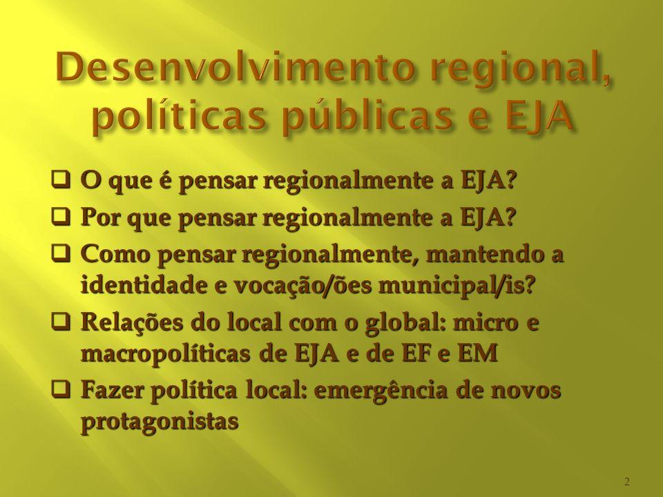 O que é pensar regionalmente a EJA? O que é pensar regionalmente a EJA? Por que pensar regionalmente a EJA? Por que pensar regionalmente a EJA? Como p